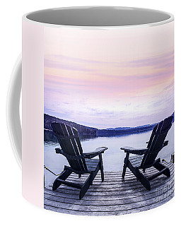 Chairs On Lake Dock Coffee Mug