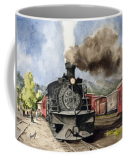 Coffee Mug featuring the painting Chama Arrival by Sam Sidders