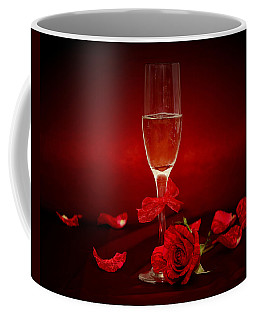 Champagne Glass With Red Roses And Petals Coffee Mug