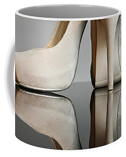 Coffee Mug featuring the photograph Champagne Stiletto Shoes by Terri Waters