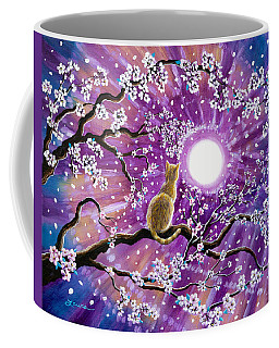 Champagne Tabby Cat In Cherry Blossoms Coffee Mug