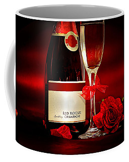 Champagne With Red Roses And Petals Coffee Mug by Serena King