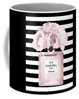 Chanel N.5, Black And White Stripes Coffee Mug