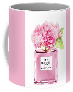 Chanel N5 Pink With Flowers Coffee Mug