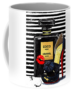 Chanel Perfume With Red Lips Coffee Mug