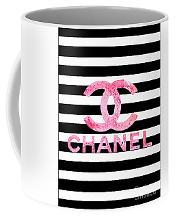 Chanel Pink Logo On Stripes Coffee Mug