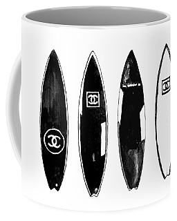 Chanel Surfboard  Black And White Coffee Mug