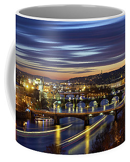 Charles Bridge During Sunset With Several Boats, Prague, Czech Republic Coffee Mug