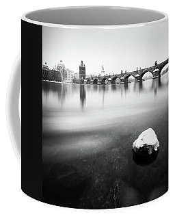 Charles Bridge During Winter Time With Frozen River, Prague, Czech Republic Coffee Mug