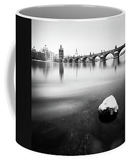 Charles Bridge During Winter Time With Frozen River, Prague, Czech Republic Coffee Mug