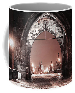 Coffee Mug featuring the photograph Charles Bridge In Winter. Prague by Jenny Rainbow