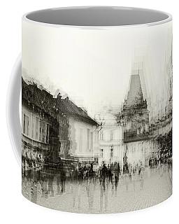 Coffee Mug featuring the photograph Charles Bridge Promenade. Black And White. Impressionism by Jenny Rainbow