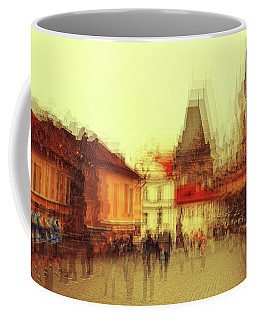 Coffee Mug featuring the photograph Charles Bridge Promenade. Golden Prague. Impressionism by Jenny Rainbow