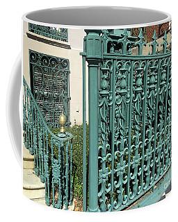 Coffee Mug featuring the photograph Charleston Aqua Turquoise Rod Iron Gate John Rutledge House - Charleston Historical Architecture by Kathy Fornal