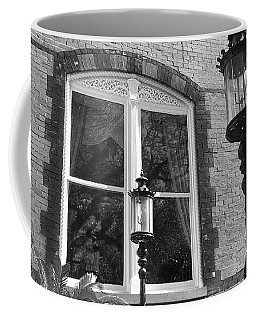 Coffee Mug featuring the photograph Charleston French Quarter Architecture - Window Street Lanterns Gothic French Black White Art Deco  by Kathy Fornal
