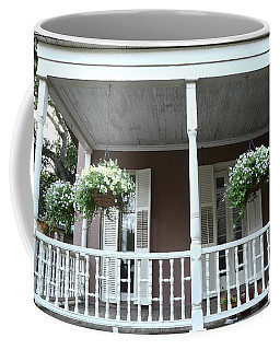 Charleston Historical Homes - Front Porches Hanging Summer Baskets Of Flowers Coffee Mug