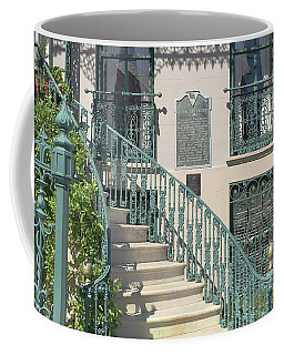 Coffee Mug featuring the photograph Charleston Historical John Rutledge House - Aqua Teal Gate Staircase Architecture - Charleston Homes by Kathy Fornal
