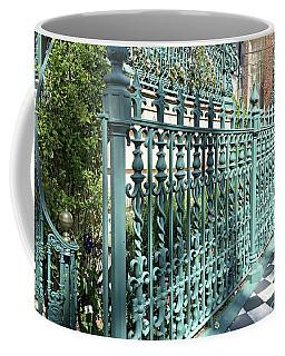 Coffee Mug featuring the photograph Charleston Historical John Rutledge House Fleur Des Lis Aqua Teal Gate Fence Architecture  by Kathy Fornal