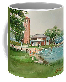 Chautauqua Bell Tower And Beach Coffee Mug