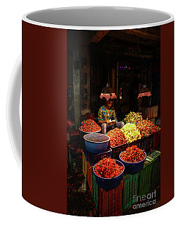 Coffee Mug featuring the photograph Cheannai Flower Market Colors by Mike Reid