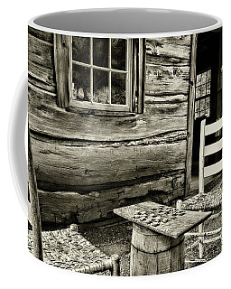 Coffee Mug featuring the photograph Checkers Down At The Old Place, In Black And White by Paul Ward