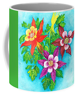 Coffee Mug featuring the painting Cheeky Columbines by Val Stokes