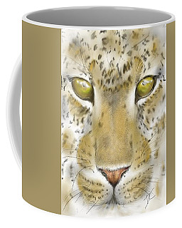 Coffee Mug featuring the digital art Cheetah Face by Darren Cannell