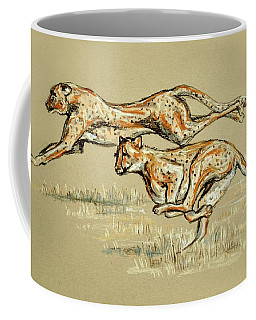 Coffee Mug featuring the drawing Cheetahs Running Free by Heidi Kriel