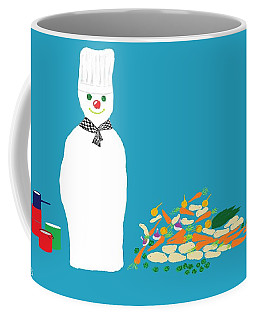 Coffee Mug featuring the digital art Chef Snowman by Barbara Moignard