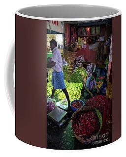Coffee Mug featuring the photograph Chennai Flower Market Busy Morning by Mike Reid