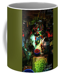 Coffee Mug featuring the photograph Chennai Flower Market Stalls by Mike Reid