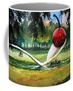 Cherry And Spoon Coffee Mug by Marilyn Jacobson
