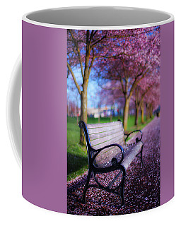 Coffee Mug featuring the photograph Cherry Blossom Bench by Darren White