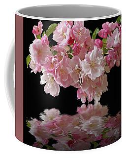 Cherry Blossom Reflections On Black Coffee Mug by Gill Billington