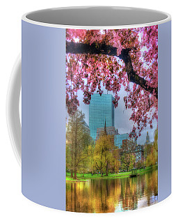 Coffee Mug featuring the photograph Cherry Blossoms Over Boston by Joann Vitali