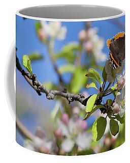 Monarch Butterfly On Cherry Tree Coffee Mug
