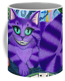 Coffee Mug featuring the painting Cheshire Cat - Alice In Wonderland by Carrie Hawks