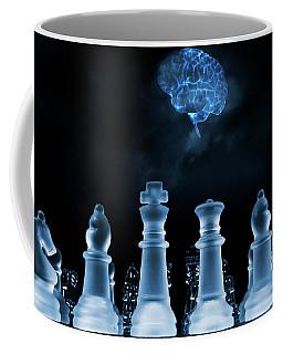 Chess Game And Human Brain Coffee Mug by Christian Lagereek