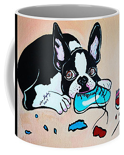Coffee Mug featuring the painting Chewy by Nora Shepley