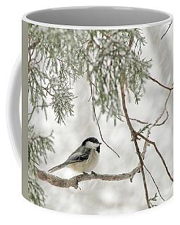 Chicadee In A Snow Storm  Coffee Mug