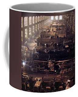 Coffee Mug featuring the painting Chicago And North Western Railroad Locomotive Shops At Chicago by Artistic Panda