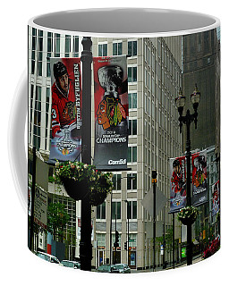 Chicago Blackhawk Flags Coffee Mug
