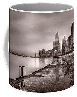 Chicago Foggy Lakefront Bw Coffee Mug