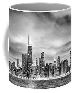 Chicago Gotham City Skyline Black And White Panorama Coffee Mug