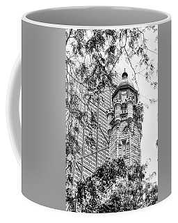 Coffee Mug featuring the photograph Chicago Historic Water Tower Fog Black And White by Christopher Arndt