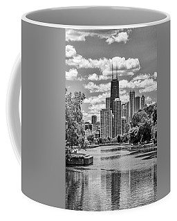 Coffee Mug featuring the painting Chicago Lincoln Park Lagoon Black And White by Christopher Arndt