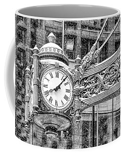 Coffee Mug featuring the photograph Chicago Marshall Field State Street Clock Black And White by Christopher Arndt