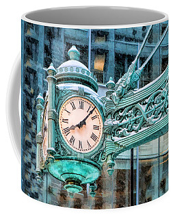 Coffee Mug featuring the painting Chicago Marshall Field State Street Clock by Christopher Arndt