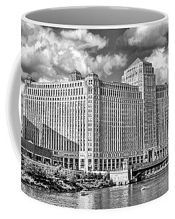 Coffee Mug featuring the photograph Chicago Merchandise Mart Black And White by Christopher Arndt