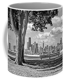 Coffee Mug featuring the photograph Chicago North Skyline Park Black And White by Christopher Arndt